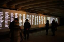 The names of Holocaust victims at Platform 21 Memorial, Milan (Italy)