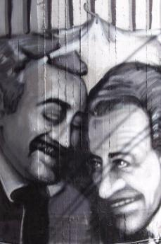 Falcone's and Borsellino's faces painted on a wall