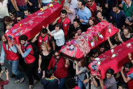 Funeral ceremony of some victims of the suicide bomb in Suruç