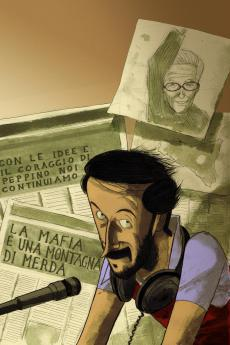 The cover of the comics book about Impastato by Lelio Bonaccorso and Marco Rizzo