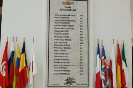 The plaque of the names of the victims of the attack against the Bardo Museum