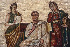 The mosaic portraying Virgil at the Bardo Museum