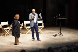 Gabriele Nissim and Andrée Ruth Shammah at Theatre Franco Parenti