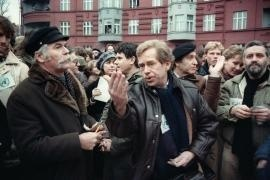 Vaclav Havel with other signatories of Charter 77, Rudolf Battěk and Ladislav Lis