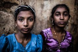 Rohingya girls in the Muslim ghetto of Sittwe, Rakhine State.
