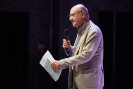 "Gabriele Nissim during the presentation of ""Il bene possibile"" at Teatro Franco Parenti"