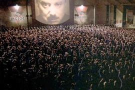"The two minutes hate in movie ""1984""by Michael Radford, drawn from George Orwell's same-name novel"