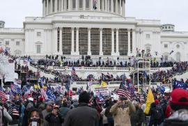 Trump supporters gather outside the Capitol, Wednesday, Jan. 6, 2021, in Washington.