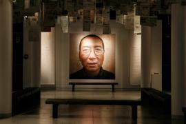 A photo of Liu Xiaobo in Oslo Nobel Peace Center, 10 December 2010.