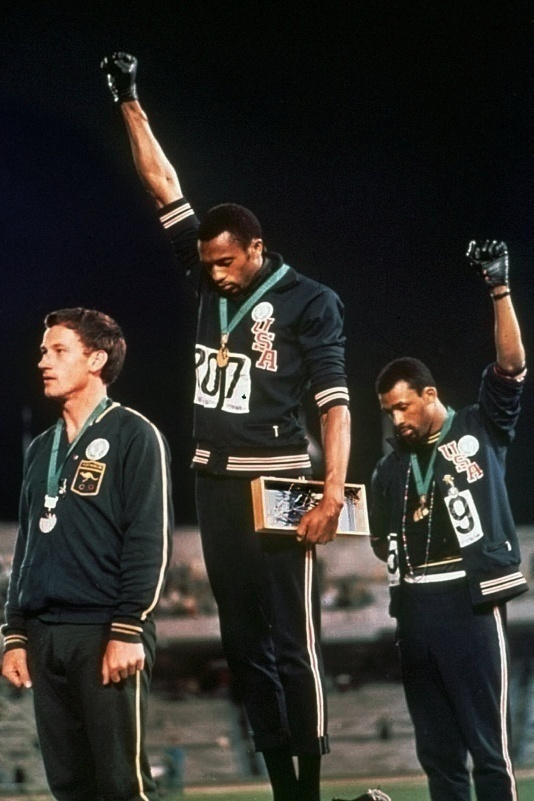 Peter Norman with Tommie Smith and John Carlos