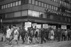 Demonstration in Czechoslovakia against the Soviet-led invasion in August 1968.
