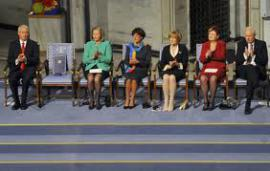The empty chairs during the ceremony