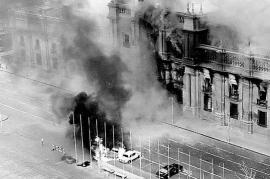 The Moneda Palace on Sept, 11 1973 during the military assault