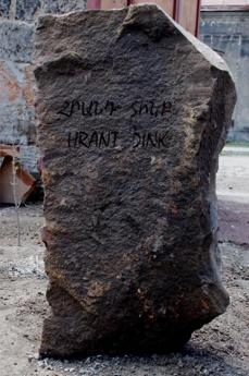 The memorial stone placed besides the tree dedicated to Hrant Dink