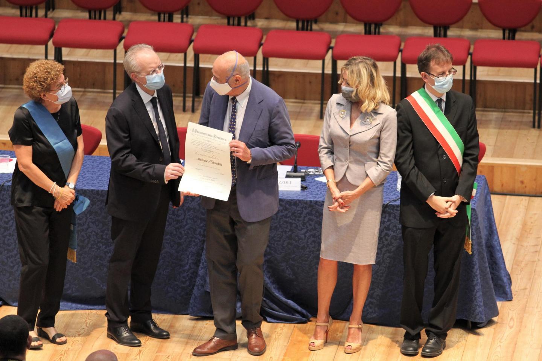 Milan's prefect Renato Saccone,  awards Gabriele Nissim, under request of the President of the Italian Republic Sergio Mattarella