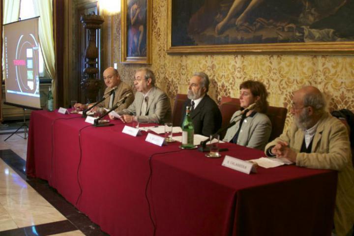 The press conference at Sala dell'Orologio at Palazzo Marino
