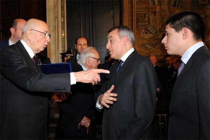 Napolitano with the president of the region of Lazio and Flavio Diolaiti