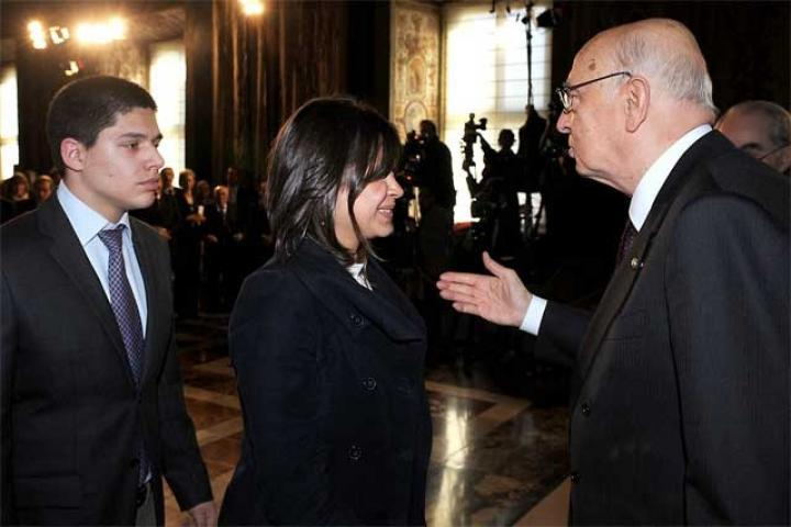 President Napolitano converses with student participants