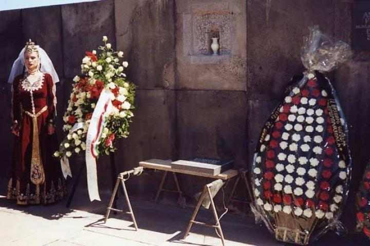 Interment of Gorrini's urn into the Wall of Remembrance in Yerevan