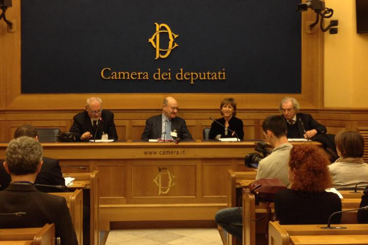 "Gabriele Nissim, Pietro Kuciukian, Milena Santerini and Antonio Ferrari at the press conference ""The Righteous of Humanity"" at Italy's Chamber of Deputies, 3 March"