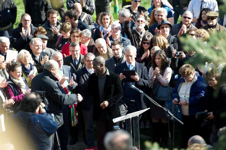 Clarence Seedorf at Milan's Garden of the Righteous on 6 March, marking EU Day of the Righteous