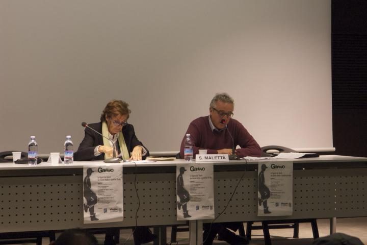 "Anna Maria Samuelli, Gariwo founder, with philosopher Sante Maletta at seminar ""The Righteous between ethical theories and life practices"", 6 November"