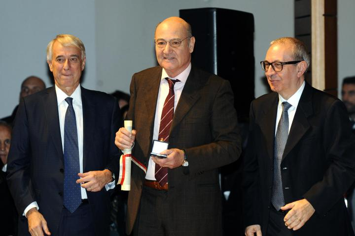 Gabriele Nissim receives the Golden Ambrogino from Milan's Mayor Giuliano Pisapia and President of the City Council Basilio Rizzo,  7 December