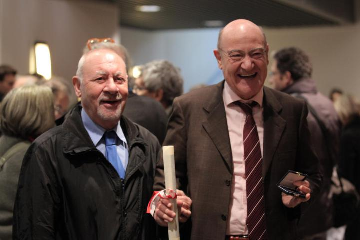 Gariwo Founders Gabriele Nissim and Pietro Kuciukian at the bestowment of the Golden Ambrogino, 7 December