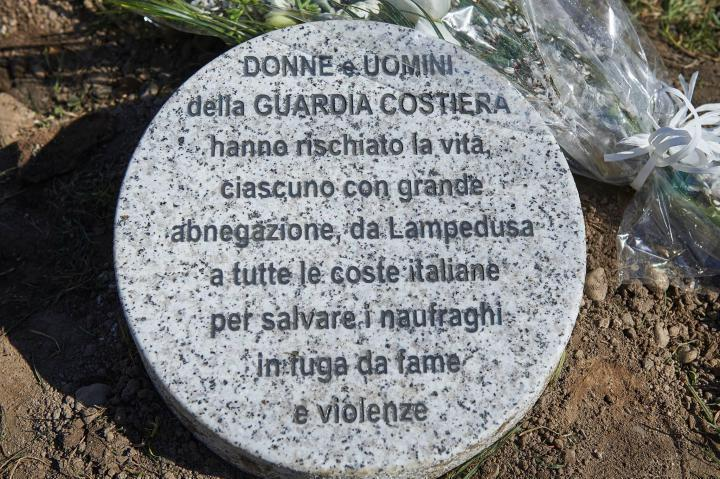 Stone dedicated to the Men and Women of the Coast Ward