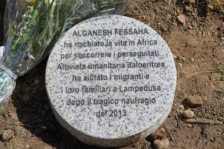Stone dedicated to Alganesh Fessaha