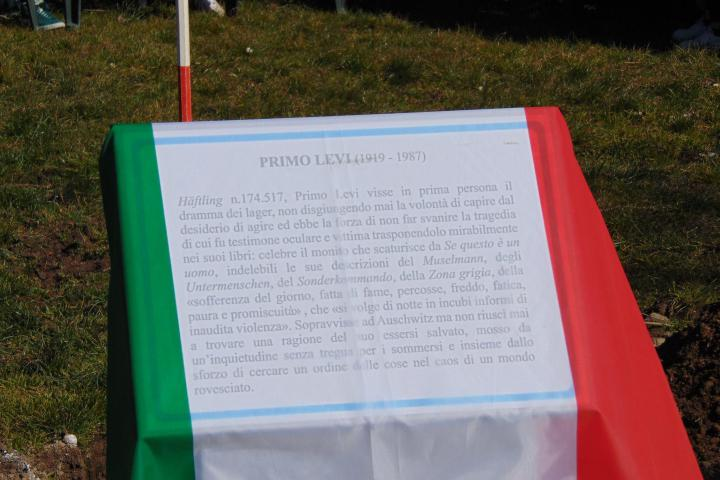 The memorial stone dedicated to Primo Levi