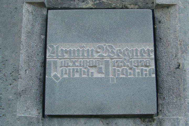 The commemorative stone for Armin Wegner