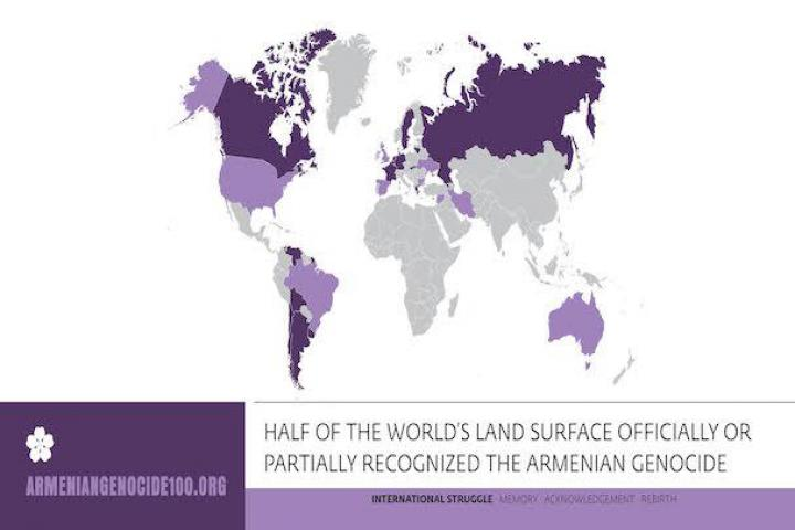 Half of the world's land surface officially or partially recognized the armenian genocide