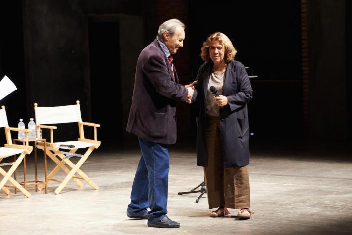 "Andrée Ruth Shammah, producer of Franco Parenti Theatre, presenting Gabriele Nissim's book ""La lettera a Hitler"""