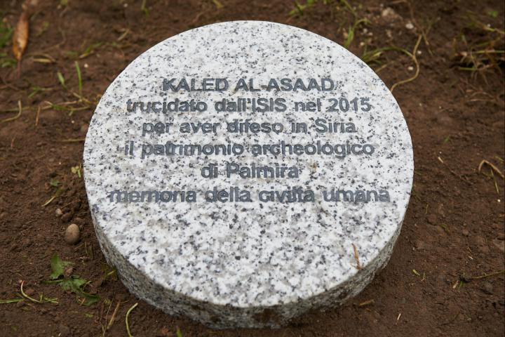 The stone dedicated to Khaled al-Asaad