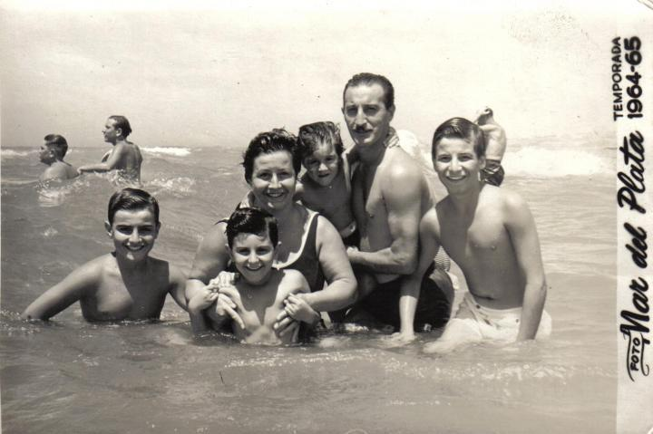 At the seaside with her family in 1964