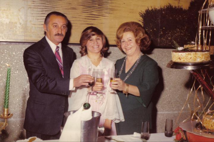 With her husband Pedro de Vincenti and their daughter Cecilia at the girl's 15th birthday