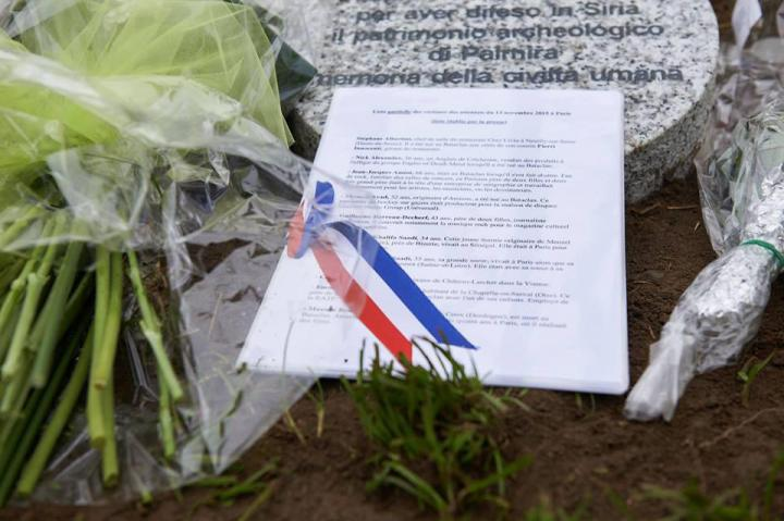 The list of the victims of the 13-November attacks in Paris laid on Khaled's stone