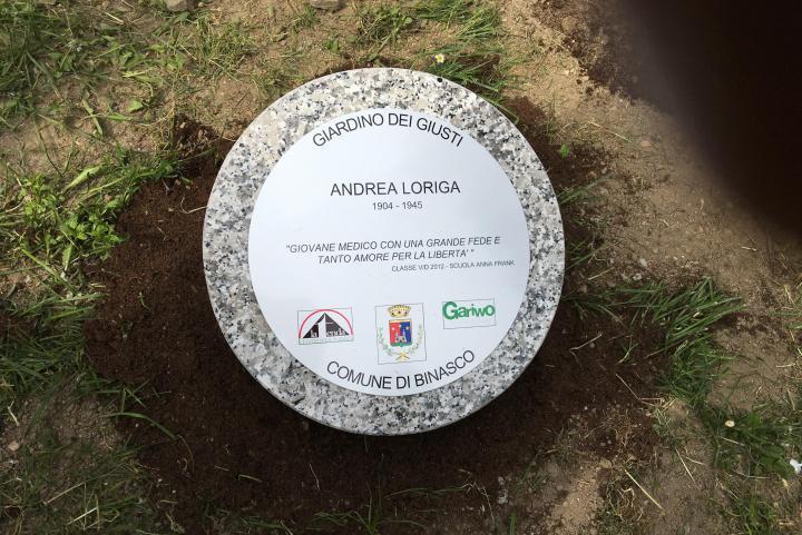 The memorial stone in honour of Andrea Loriga