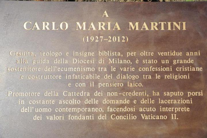 The plaque in honor of Carlo Maria Martini