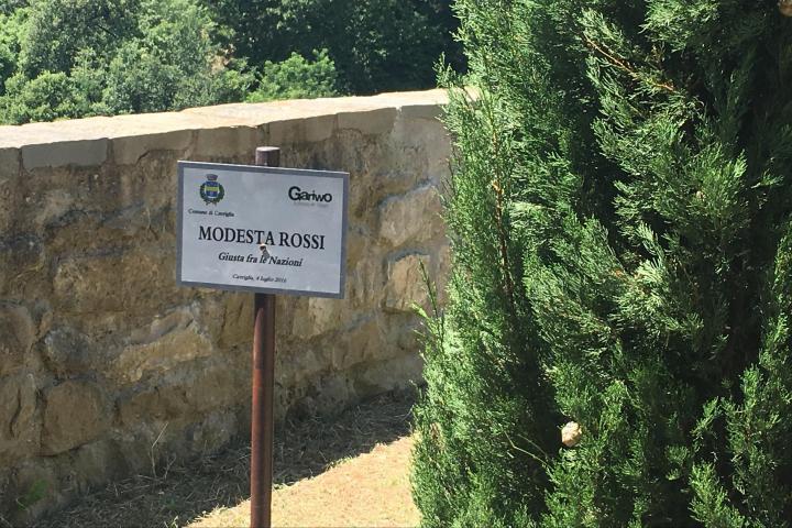 The plaque in honour of Modesta Rossi