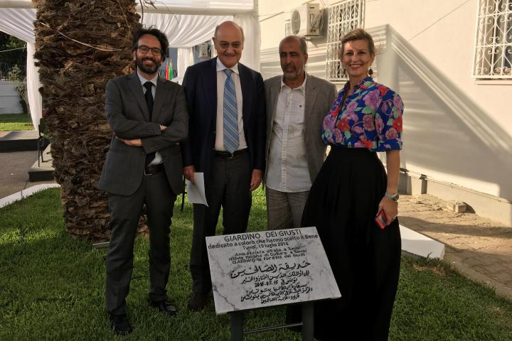 Lamberto Bertolè, Gabriele Nissim, the tour guide Hamadi ben Abdessalem and the archaeologist Cristina Miedico