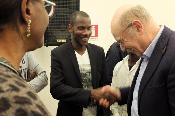 20 May - Gariwo Chairman Gabriele Nissim meets with Lassana Bathily, a Muslim rescuer in the Paris attacks, in Vercelli