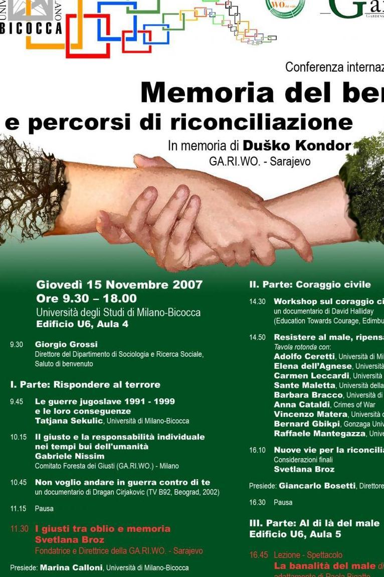 2007 - Memory of Good and pathways of reconciliation