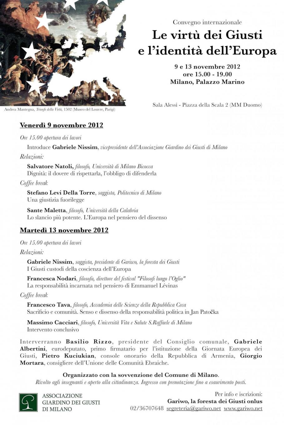 "2012 - seminar ""The virtues of the Righteous and the identity of Europe"""