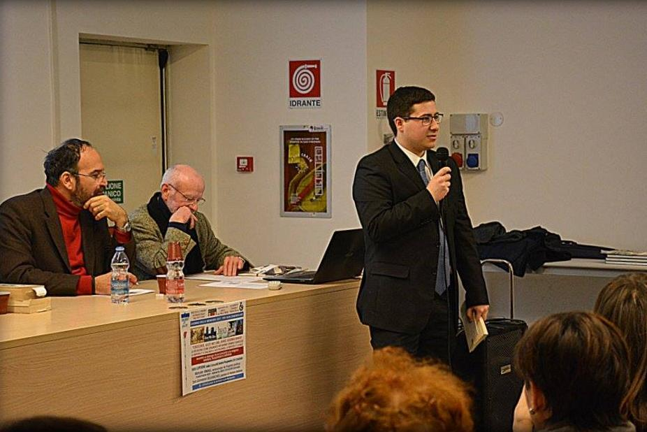 City councillor Marco Longoni during the intercultural and religious meeting with the citizens.