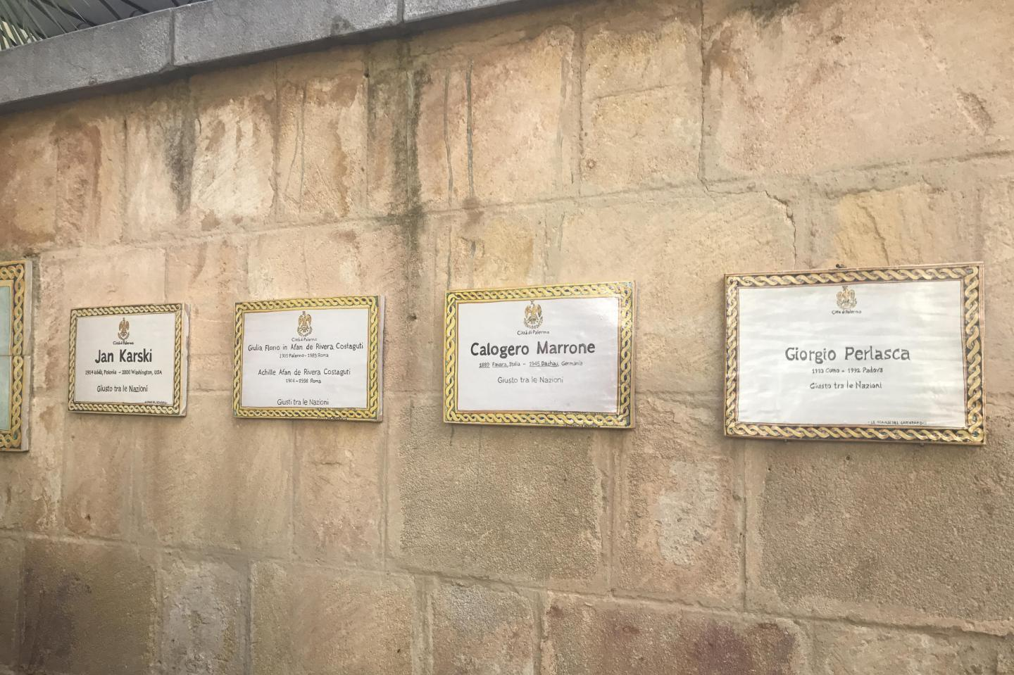The memorial plaques dedicated to the Righteous of the Garden of Palermo