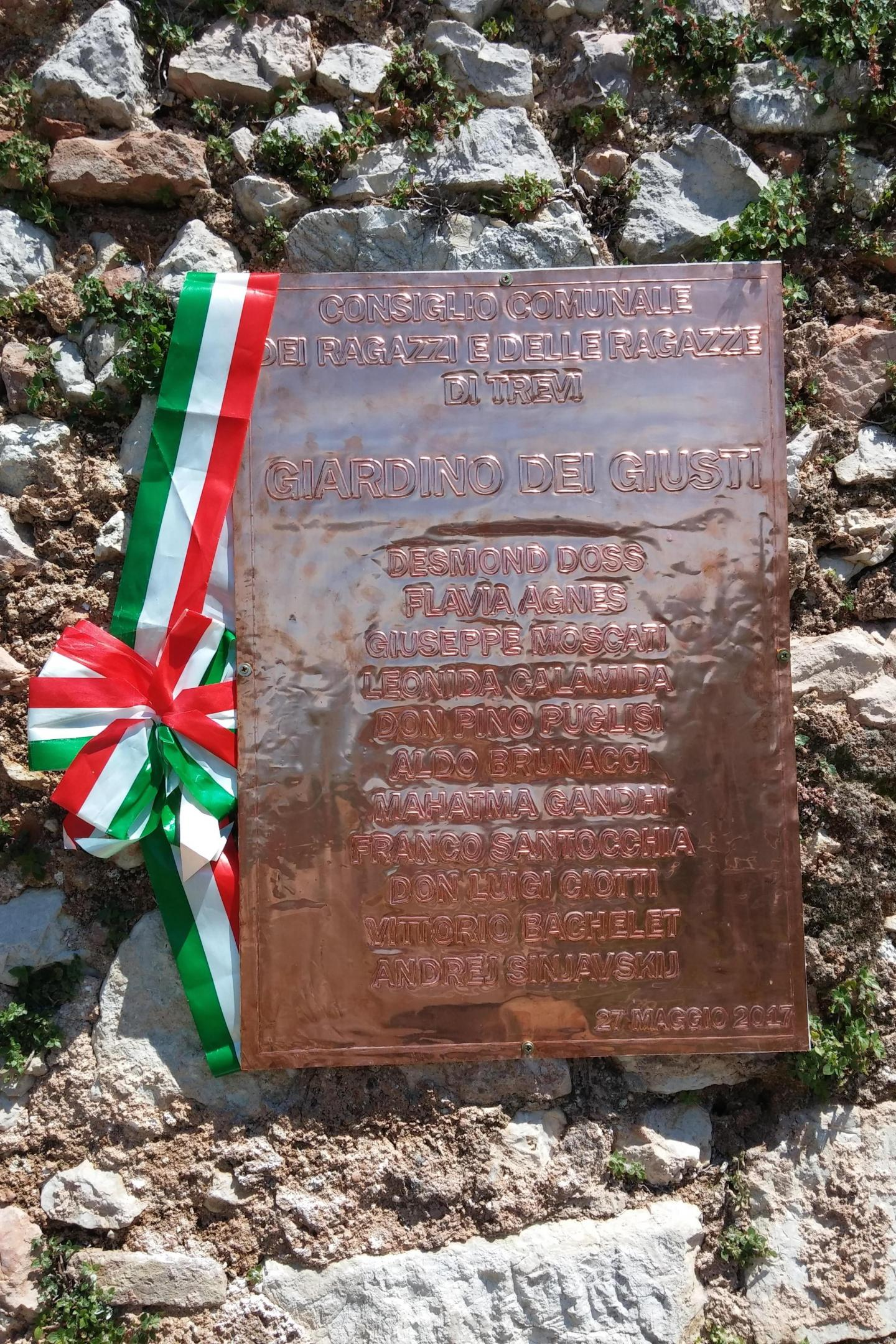 Copper plaque, made by Arts professor Maurizio Di Francesco