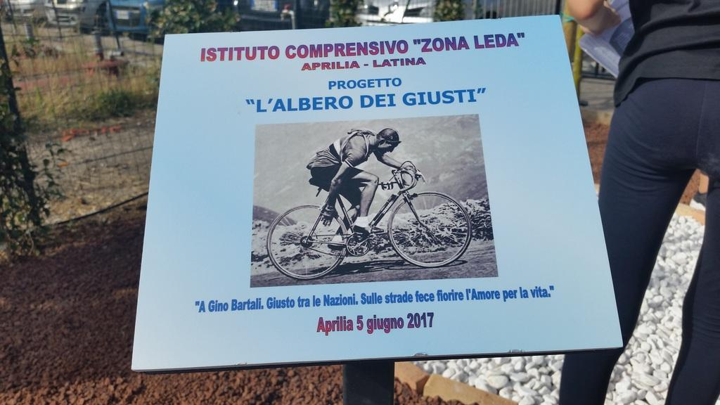plaque dedicated to the Righteous Gino Bartali