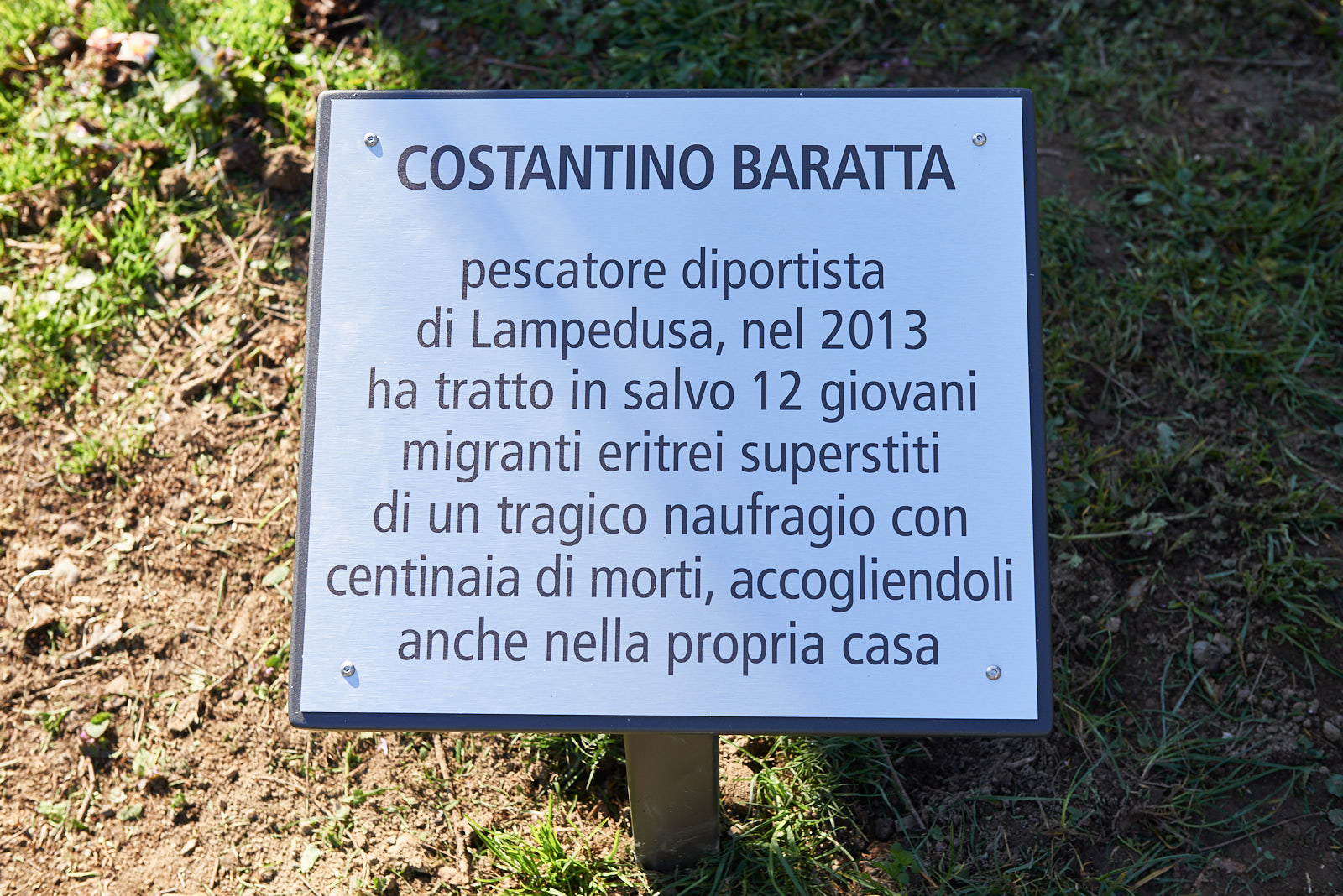 Plaque for Costantino Baratta